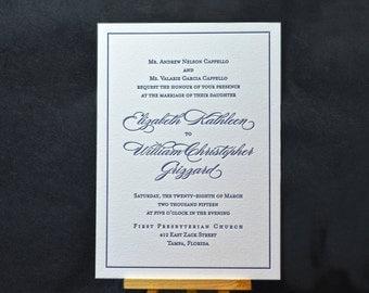 Audry Letterpress Wedding Invitation Suite - DEPOSIT