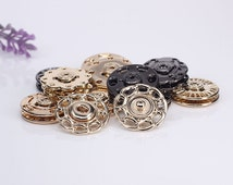 6 pcs 0.71~0.83 inch Silver/Gold/Gun black Flower Hollow Snap Fasteners Metal Shank Buttons for Down Jackets Coats Sweaters
