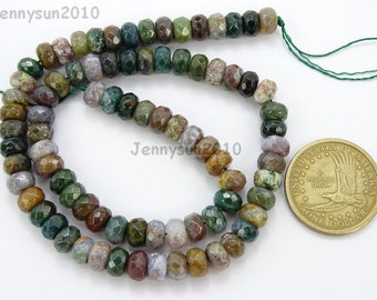 Natural Indian Agate Gemstones 5mm x 8mm Faceted Rondelle Spacer Loose Beads 15'' Strand Jewelry Design