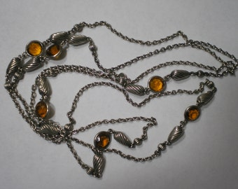 Vintage Sterling Silver Burnt Orange Crystal Fluted Ball Sautoir Necklace 42 Inches
