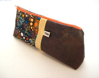 pencil case brown suede and bubbles cotton fabric school case efervescence