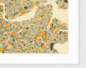 BOSTON Map, Giclee Fine Art Print, Modern Wall Art for the Home Decor