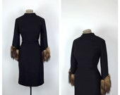 50s Black Wool Cocktail Dress with Mink Tail Sleeves • 1950s Fitted Long Sleeve Wiggle Dress with Dangling Fur Sleeves • Winter • Large