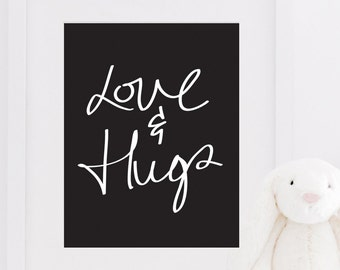 PRINTABLE Fun Love & Hugs Typography Quote Inspirational Poster Bedroom Kids Room Wall Art Home Decor