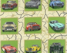 Classic and Vintage Cars Panels Quilting Fabric 55 Panels Each 8cm Square