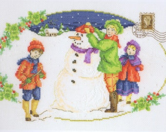 Building A Snowman Cross Stitch Kit By Maria Diaz For DMC On 14 Count