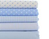 Light Blue Cotton Fabric, White & Power Blue Plaid Polka Dots Stripes Solid Cotton -1/2 yard