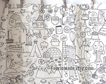 Children Linen Cotton Blend Fabric, Off White Linen With Cute Pencil Sketch Drawing - 1/2 yard