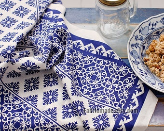 Upholstery Cotton Linen Fabric- Chinese Blue and White Porcelain Flower On Natural White- one panel