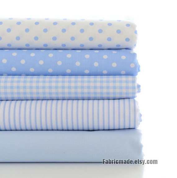 Light Blue Cotton Fabric, White & Power Blue Plaid Polka Dots Stripes Solid Cotton -1/2 yard