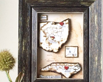 Anniversary Present - Long Distance Relationship - Anniversary Map Gift - Map and Heart - Personalized Gift