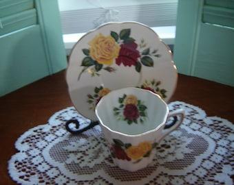 Vintage teacup and saucer set Elizabethan Taylor and Kent England set serving drinkware Christmas gift idea