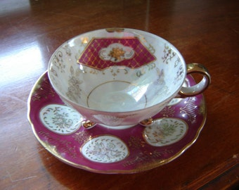 Vintage teacup and saucer set luminescent with gold and magenta coloring fine bone china porcelain teacup gift