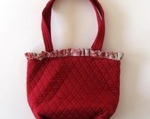 Vintage Pierre Deux Toille red purse, Bags and Purses, Souleiado quilted tote, Women's Accessory, French Country Collectible