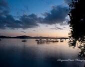 Sunrise photos, ocean pictures, fishing villages, sunrise cloud images, blue, orange, silhouette, tranquil landscape, wall decor