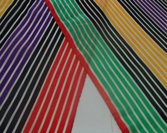 Reserved for Buyer BILL BLASS Vintage Silk SCARF  Stripped Colour Block Print Blass 1980s DeadStock