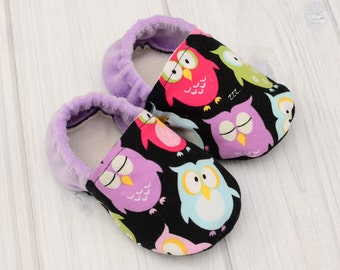Newborn Shoes Girl - Purple Owls - Little Girl Shoes - Toddler Shoes for Girls - Best Walking Shoes - 1212, 1213