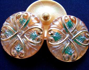 Czech  Glass  Buttons  3 pcs   Gorgeous    32mm  IVA XL 045