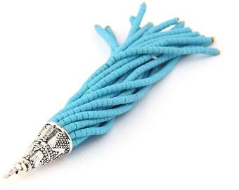 SALE*50% OFF - Blue, Afghan/Tibetan Heishi Seed Bead Tassel with Shiny Silver Plated Cap, Beaded Boho Tassel, 1 pc- 82 mm // TAS-075