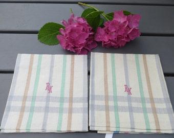 2   Two  Danish   Linen Towels    Colourful Stripes   Monogram RK  Danish Design Dish Cloth Napkin Wrap Torchon Denmark Pair  Set of