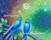 Star Gazers, swallows, universe,  stars, colorful