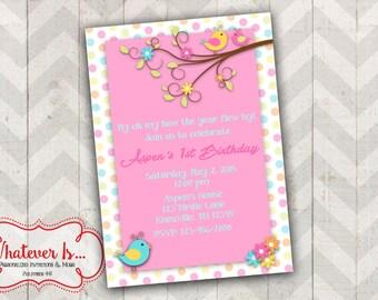 Little Birdie Birthday Printable Invitation