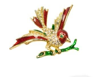 SPHINX Vintage Rhinestone Metallic Enamel Figural Bird on Branch Brooch