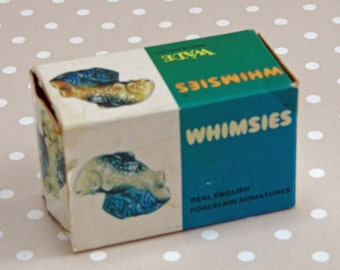 Vintage Retro Trout Wade Whimsies with Original Box Real English Porcelain Miniature Made in England