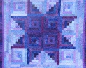 King Batik Log Cabin Quilt - Amethyst Star - Purple Log Cabin