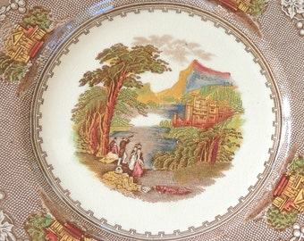 Royal Stafforshire Dinner Plate, Jenny Lind Multi Color Brown English Country, English China, Transferware