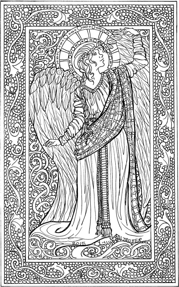 angel coloring sheet adult coloring sheet by
