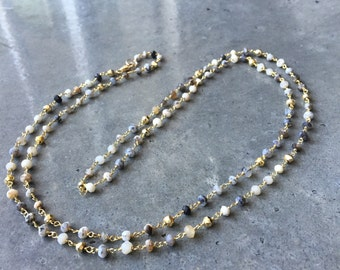 Dendritic Opal and Pyrite necklace
