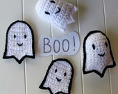 PATTERN: Crochet Ghost Appliques and Stuffed Plushies, Instant Download pattern for Friendly Ghosties, Halloween Decor, Trick or Treat Bag