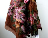 """Nuno felted brown scarf shawl poncho felting wool luxury floral romantic tippet stole """"Peonies"""""""