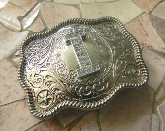 Monogram Letter I Personalized Silver Belt Buckle, Rhinestone Initial I Monogrammed Womens Mens Kids Western Belt Buckle, Custom Belt Buckle