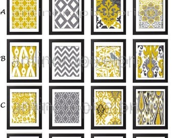 IKat Yellow Mustard Citron Grey Wall Art Pictures -Pick Any (6) Any Color - 8x10 Prints -  Dark Yellow Greys White (UNFRAMED) #222551960