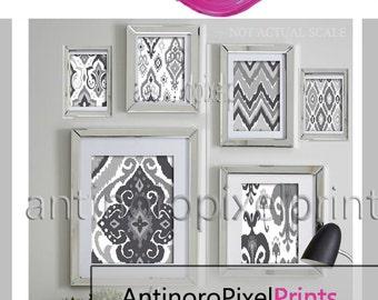 Ikat Greys White Ikat Collage Wall Art Gallery Print Set of (6) - Prints - (1) 11x14,(1) 8x10, (2) 5x7 (2) 4x6  #245951191 (Unframed)