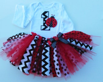 Red And Black Lady Bug First Birthday Tutu Set