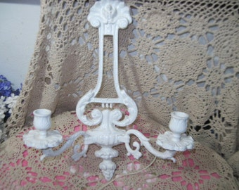 Shabby Cottage Chippy Double Candle Sconce  Heavy Metal,Candle Sconce,Vintage Candle Scounce, Metal Candle Sconce,   :)S