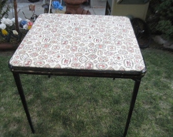 Card Table, VERY HEAVY Made Folding Card Table Metal Well Made /