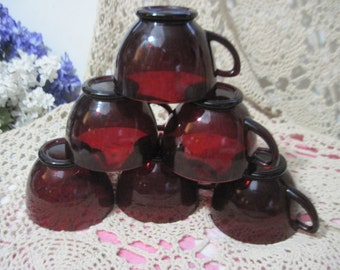 Ruby Red Punch Bowl Size Cups, Vintage Red  Mugs,Vintage Red Cups,Vintage Dishes,Vintage Kitchen,/:)S