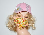 POPCORN, Flu mask , colorful , quality cotton, soft, washable, reusable, Face mask, by mouthshutters, Popcorn