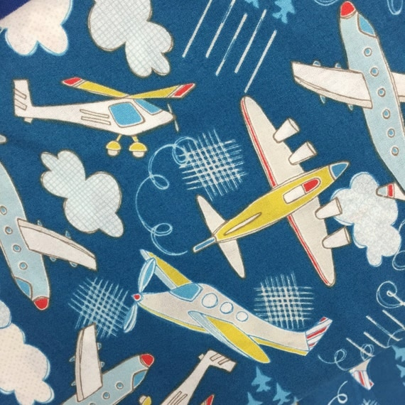 Plane fabric airplanes fabric by the yard dark blue for Airplane fabric by the yard