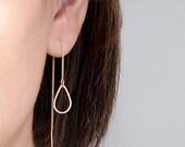 Teardrop Hoop Ear Thread, Gold / Silver Chain Earrings, Rain Drop Geometric Open Hoop Charm, ET GJ