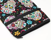 iPad Pro 12.9 Case, iPad Air 2 Pouch, Kindle Fire HD 6, Galaxy Tab S Sleeve Dia de los Muertos - colorful flowers and skulls in black