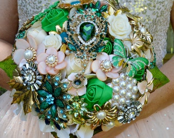 DEPOSIT on a Custom Made Bridal Brooch Bouquet ANY COLOR Broach Wedding Bouquet Emerald Green Peach Coral Pink Pearl Gold