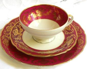 vintage tea cup trio german porcelain tea cups tea trio tea cup and saucer burgundy tea cup red teacup 688