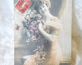 Antique French postcard photograph postcard hand tinted postcard french vintage beauty romantic