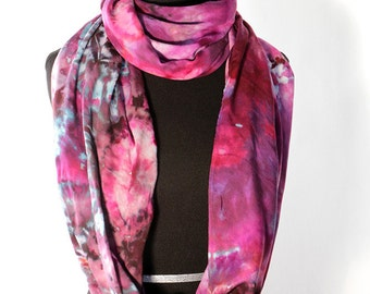 "Ice Dyed Tie Dyed Rayon Circular  Infinity Scarf, Shades Of Pink And Purple, 77"" around by 21"" wide, Made To Order"