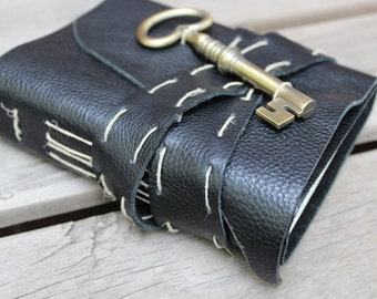 Small Leather Journal with Skeleton Key. Black Magic Writing Journal.